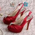 Festa Sapatos de Plataforma Slingback Wedopus Vinho Vermelho Sandálias de Salto Alto de Noiva Dropshipping