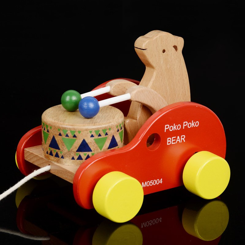 Kids Wooden educational Drag the toddler Little bear drums car, Children Drag toddler car bear beat drums classic wood toys