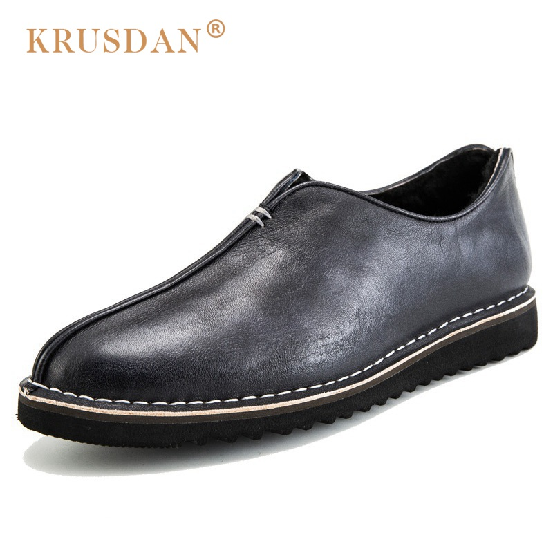 KRUSDAN Top Quality Man Comfortable Flat Platform Shoes Vintage Genuine Leather Round Toe Slip on Men's Handmade Footwear OQ12