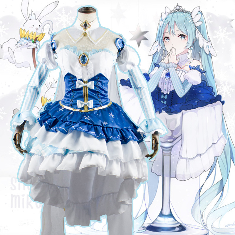 2019 Hot Hot!! Vocaloid Cosplay V Girl Snow Miku Star And Snow Princess Cosplay Costume Dress Blue Halloween Costumes For Women