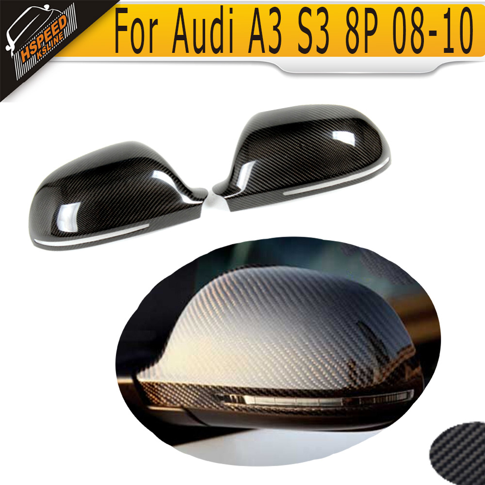 Carbon Fiber Mirror Cover Caps For Audi A3 S3 8P 2008 2009 2010 without side assist