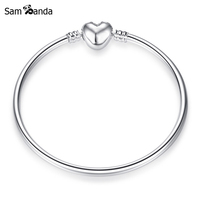 Authentic 925 Sterling Silver Bangle Heart Clasp Clip Basic Bangle Fit Pan Charms Beads DIY Jewelry