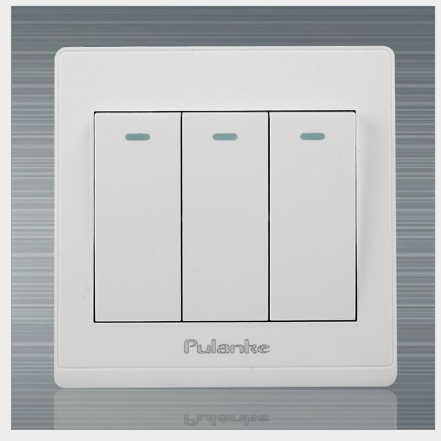 White Wall Switch Panel, Lamp Light Switch 3 Gang 2 Way Double Push ...