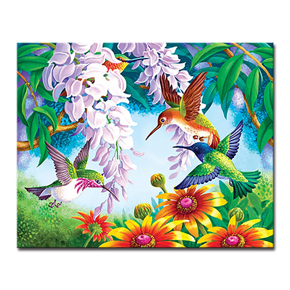 DIY Oil Painting By Numbers Handpainted Coloring Hummingbird Pictures Kits  Drawing Flowers Garden On Canvas Wall Art Home Decor