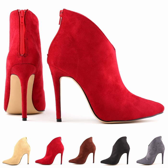 Catching FREE SHIPPING WOMENS FAUX VELVET HIGH STILETTO THICK HEEL PLATFORM ANKLE BOOTS SHOES Plus Size 35-42 Ladies High Pump