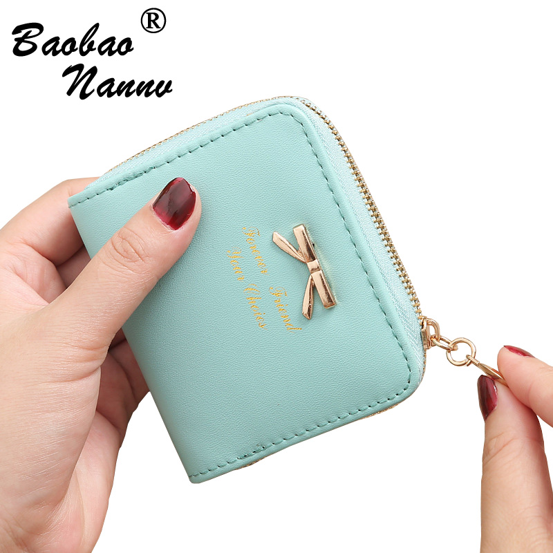 Wallet Female Short For Coins New Cute Candy Bow Women Small Leather Wallets Zipper Purses Portefeuille Girls Lady Purse Clutch