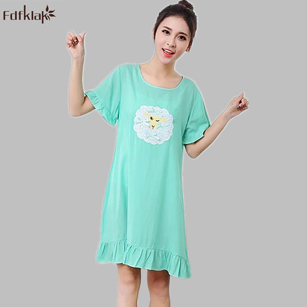 ef808fc92756 Cute Cartoon New Cotton Nightgowns Women Short Sleeve O-neck Summer Sleeping  Dress Ladies Nightshirt Girls Nightdress A626