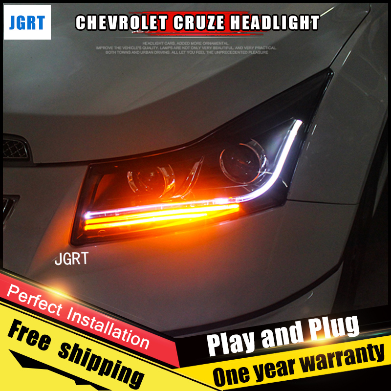 2PCS Car Style LED headlights forChevrole Cruze 09-12 for Cruze head lamp LED Lens Double Beam H7 HID Xenon bi xenon lens electric car motorcycle 15w led headlights modification lens light 12 60v