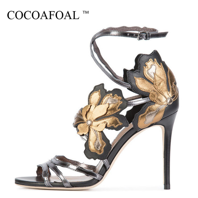 COCOAFOAL Women Fetish High Heels Embroider Sandals Plus Size 33 43 Peep Toe Shoes Sexy Blue Pink Grey Open Toe Heels Sandals