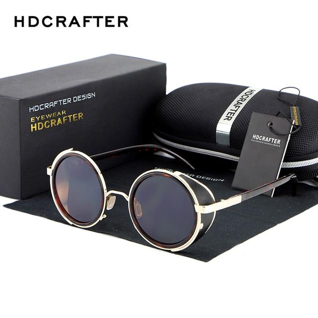 HDCRAFTER Steampunk Mirror Lens gafas de Sol A Estrenar Gafas de Sol de La Vendimia Retro Hombres Ronda gafas de Cyber Goggles Steampunk Para Hombres/Mujeres