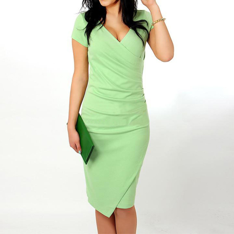 Wholesale Hot Sale New Fashion V Neck Short Sleeve Irregual Pencil Party Evening Sexy Bodycon Women