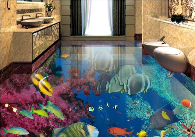 Custom 3d Flooring Tropical Fish Floor Mural Wallpaper Pvc Vinyl Waterproof For Kitchen