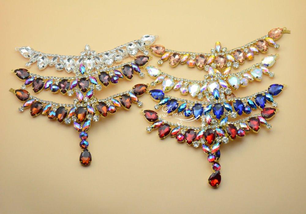 1 gab. Šujiet uz Rhinestone Appliques kāzu kleitas zelta pamatnes - Māksla, amatniecība un šūšana - Foto 3