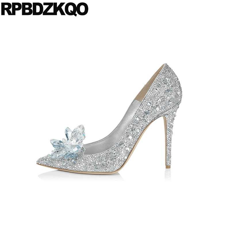6c01924653c Stiletto Silver Crystal Wedding Shoes High Heels Cinderella Size 33  Rhinestone Ladies Diamond Pointed Toe Pumps Big Jewel Brand