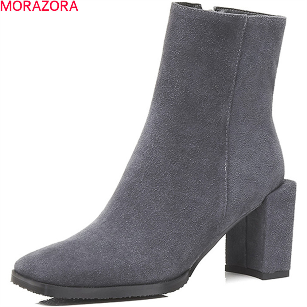 MORAZORA black gray fashion women boots square toe cow suede ladies boots zipper sexy high heel leather ankle boots 2018 new suede leather patchwork women flodover mid calf boots sexy pointy toe ladies blade heel boots zipper knight boots