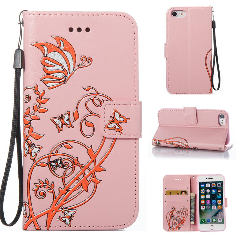 Patterned Bling PU Leather Card Pocket Kickstand Strap Case Cover Painted Phone case For iPhone 7 7 8 Plus 6G 6S Plus 5G 5S SE