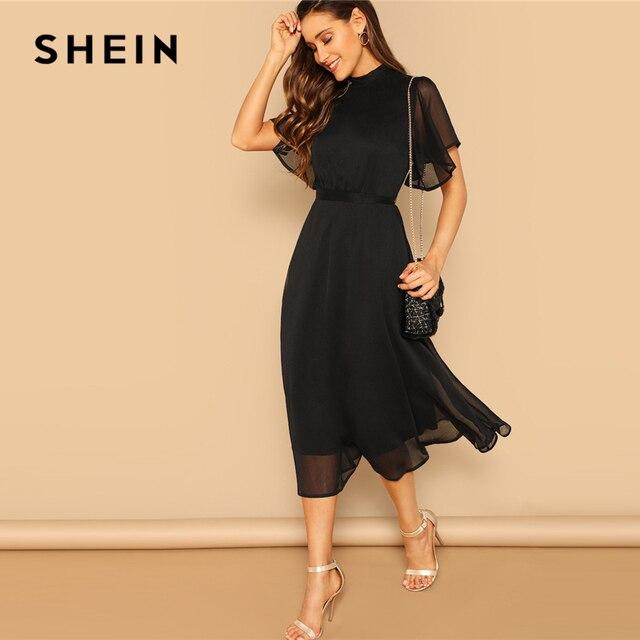 SHEIN Glamorous Schwarz Mock neck Knoten Zurück Sheer Panel Kleid 2019 Frühling EINE Linie Schmetterling Hülse Stehkragen Elegante kleider