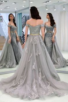 db51d8b256 De alta calidad de encaje de tul tela vestido de baile de graduación 2019  gris noche largo sirena vestidos celebridades vestidos