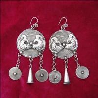 Lange Ohrringe handgemacht sämlinge silbernen ersten schmuck Fische trompete ring vintage nationalen fransen