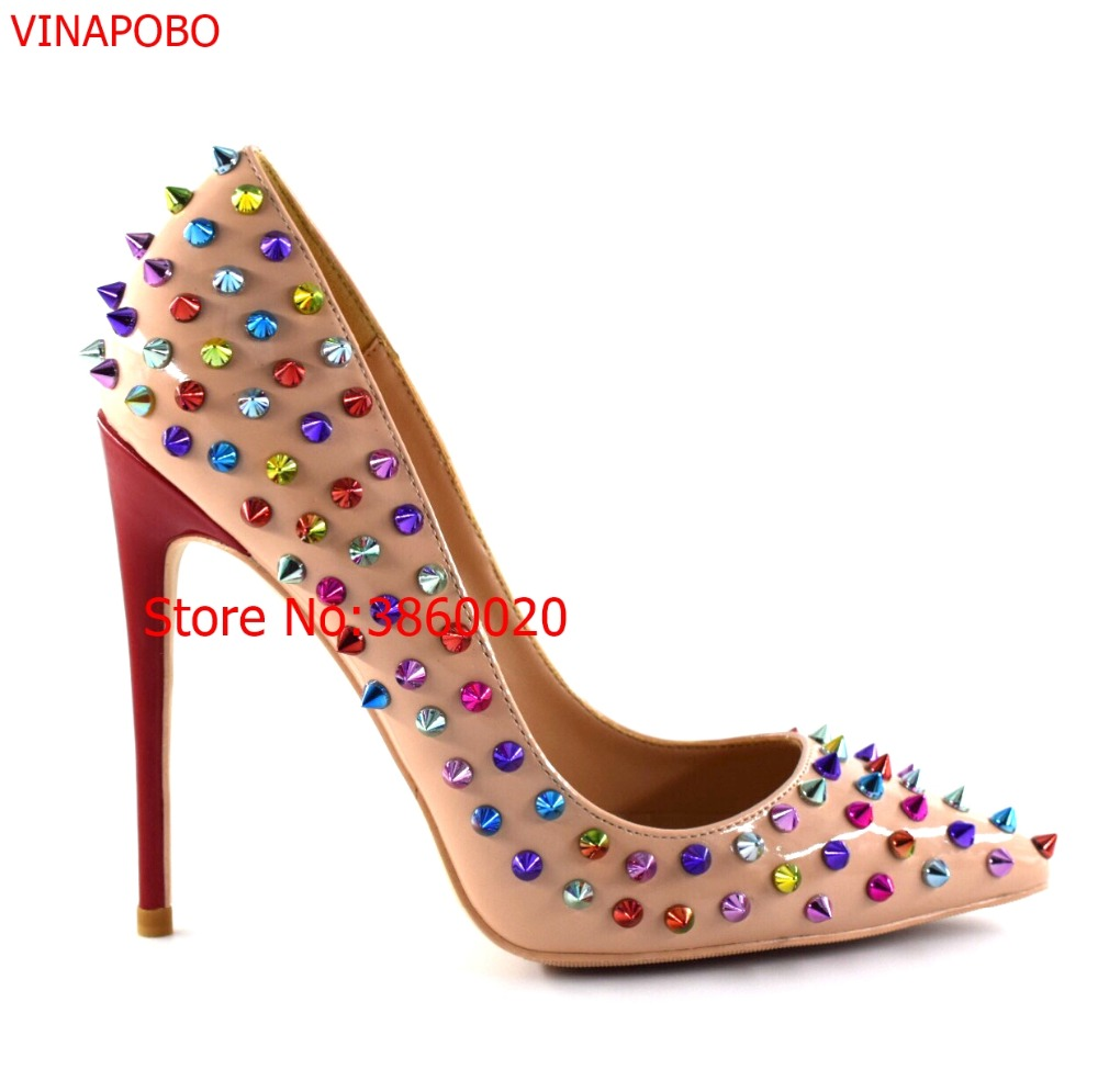 2019 New Patent leather Shoes Women Pointed Toe Thin High Heels Sexy Rivets Spike Pumps Colored