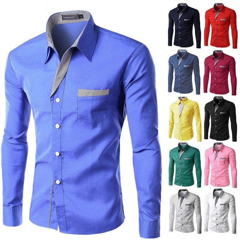 2017, Новая мода Марка камиза masculina рубашка с длинными рукавами Для мужчин корейские узкие Дизайн Формальные Повседневное мужской рубашки Размеры M-4XL