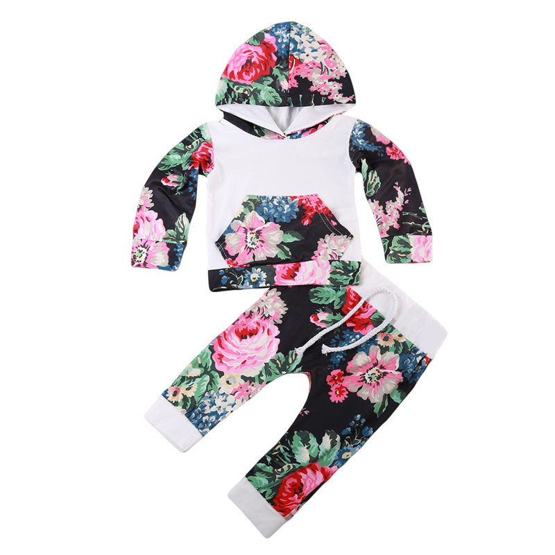 Baby Girl Floral Clothing Set Fall Hot Newborn Baby Girl Hooded Tops Coat Pants Outfits 2017 New Bebes Girls Clothes Sets 0-18M ...