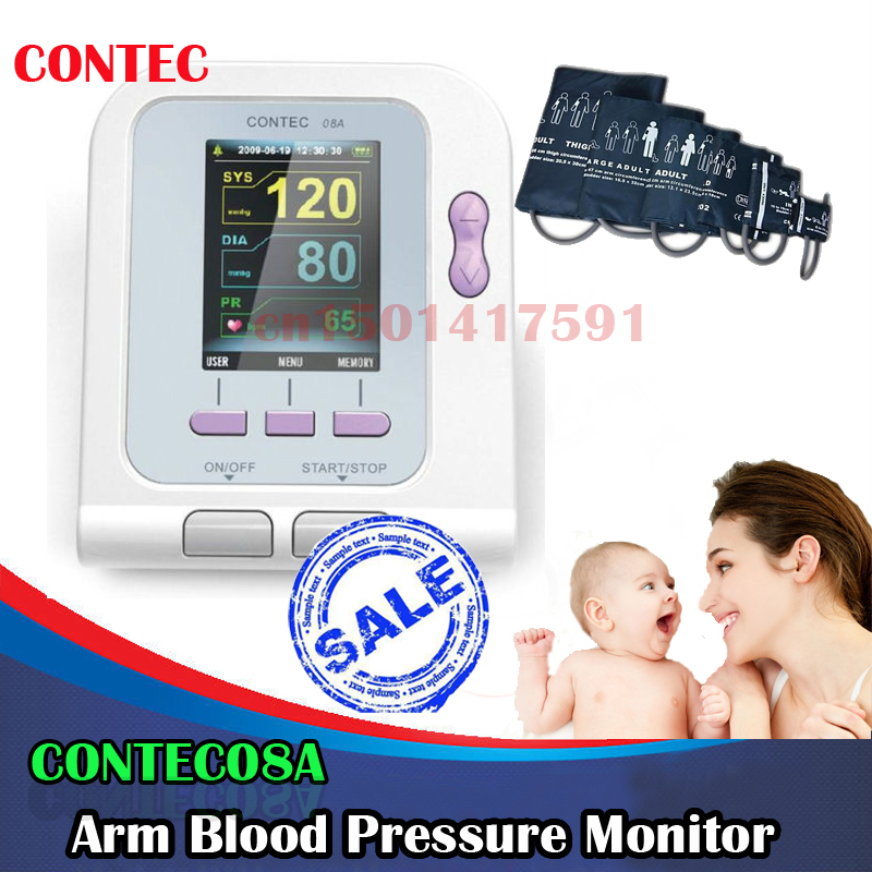HOT CE&FDA Electronic Digital Blood Pressure Monitor CONTEC 08A/ CONTEC08A  For human with 4 cuff home use BPmoniter high quality ce fda blood glucose meters monitor blood sugar diabetics test glycuresis monitor 50 strips 50 needles