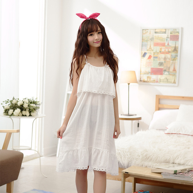 NEW Sexy Lace Sling Nightdress Cotton White lovely Nightgowns Women