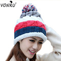 Autumn Winter Warm Women Knitted Hat Female Ladies Wool Knit Beanie Cap Ball Bone Touca Rainbow Striped Pom Ski Hat M0588