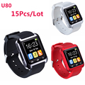 15pcs Smartwatch Bluetooth Smart Watch U80 Clock Wearable Device Smartwach For iPhone Android IOS Phone PK U8 GT08 DZ09 Watches