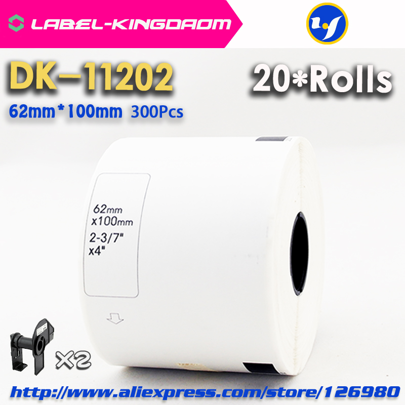 20 Refill Rolls Compatible DK 11202 Label 62mm 100mm 300Pcs Compatible for Brother Label Printer White