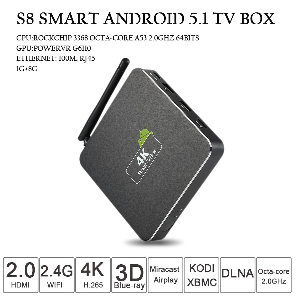 S8 Smart TV Box Android 5.1 RK3368 Octa-core 64 bits H.265 USB 1G/8G 2.4G WiFi KODI XBMC DLNA Airplay Miracast HD Media Player zidoo x6 pro smart android tv box android 5 1 rk3368 octa core 2g16g hdmi2 0 4k kodi xbmc h 265 dlna miracast wifi bluetooth 4 0