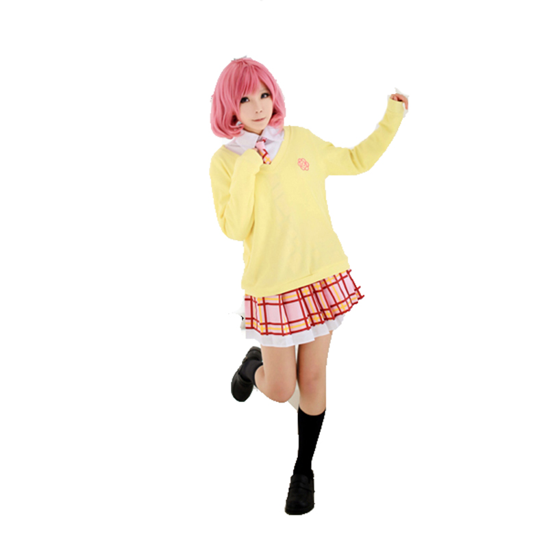 Manteau pull Kitted + jupe + cravate + perruques (pas de chemise) Noragami Ebisu Kofuku Costume Cosplay robe Costume Cosplay