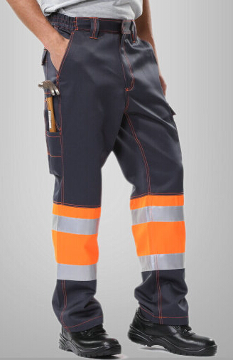men's reflective pant with side pockets mens cargo pants men's safety working pant Mens High Visibility Trousers orange 1pcs