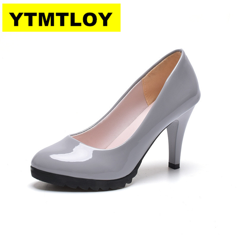 2019 Hot Women High Heel Pumps Thick Heel Pumps Round Toe Pump Sexy Footwear Wedding Heels Spring Leather Shoes Woman 8cm