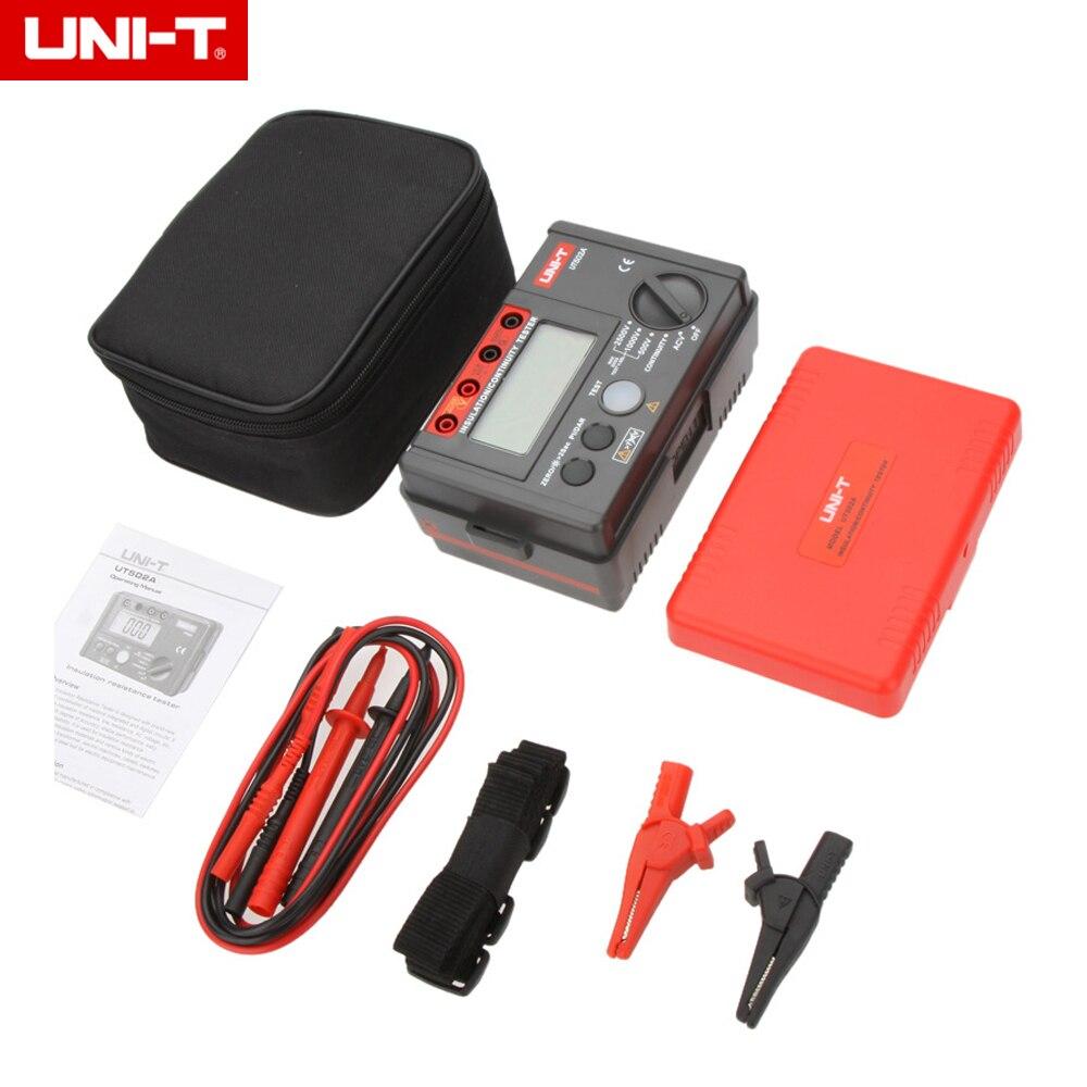 UNI-T UT502A 2500V Insulation Resistance Tester Megohmmeter Voltmeter Continuity Tester w/LCD Backlight uni t ut501a 2 8 lcd insulation resistance tester red grey 6 x aa