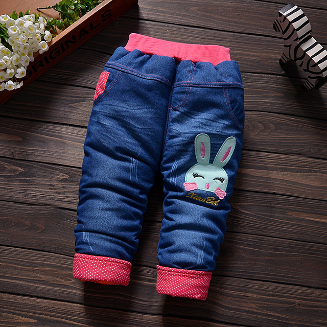 ab3682137dc3 2016 New Children Plus Thick Velvet Jeans Female Baby Newborn Cotton ...
