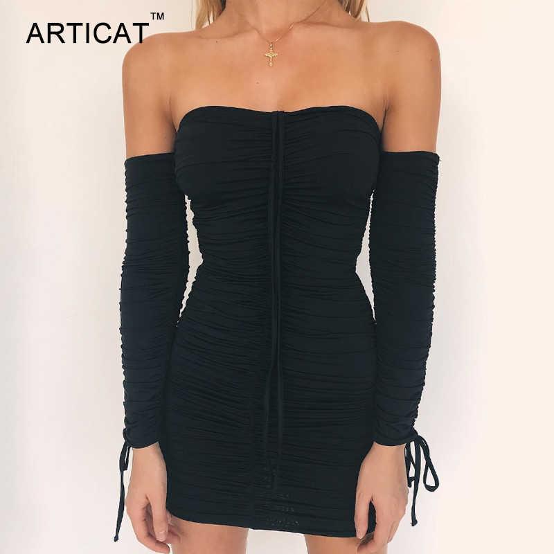 Articat женское осенне-зимнее Бандажное платье для женщин 2018 сексуальное с открытыми плечами с длинным рукавом тонкое эластичное облегающее вечернее платье Vestidos