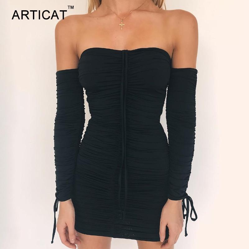 Articat Women Autumn Winter Bandage Dress Women 2019 Sexy Off Shoulder Long Sleeve Slim Elastic Bodycon