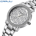 Crrju  Top Brand Women Watches Women Quartz Clock Ladies Silver Stainless Steel Fashion Casual Wrist Watch Gift Montre Femme