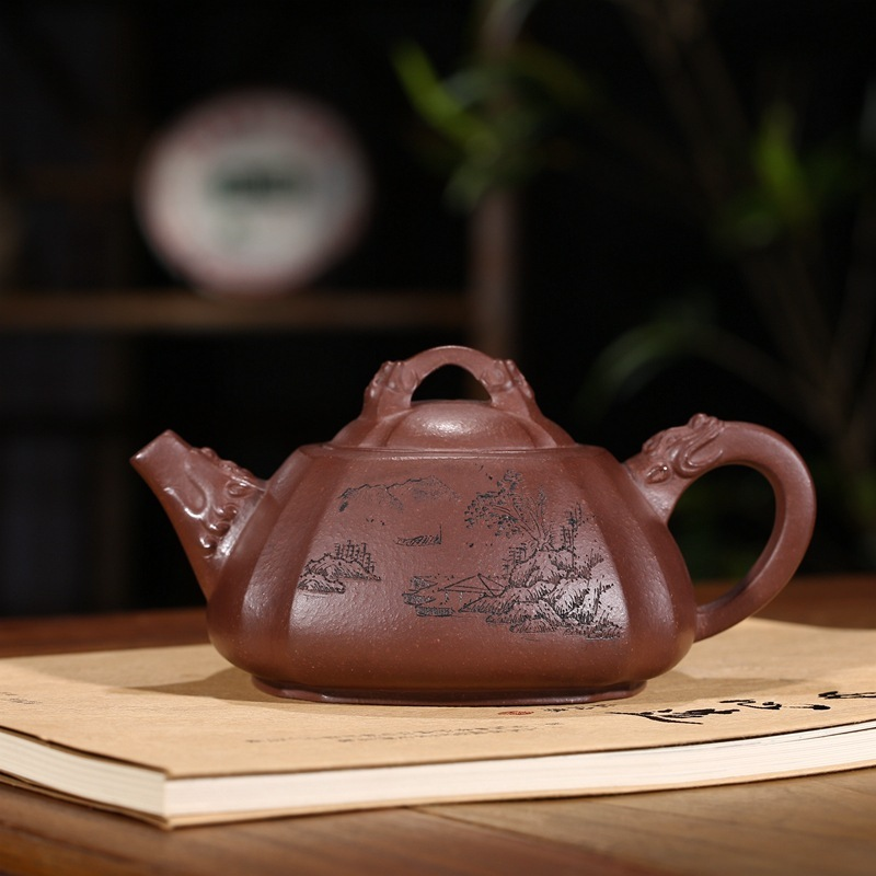 ore purple sand tea set square purple clay teapot cup pot smoking longhorn is carved a undertakes painting landscape