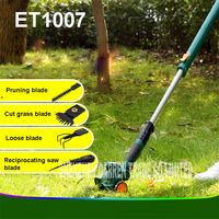 ET1007 power tools 4in1 10.8V Li ion cordless hedge trimmer mower mower pruning mini rechargeable tools 65manganese alloy steel