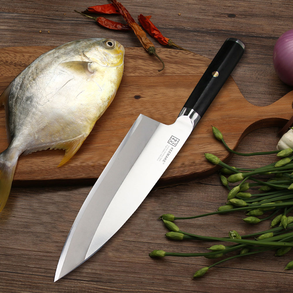 SUNNECKO 8.25 Deba Knife German 1.4116 Steel Sharp Blade Sashimi Kitchen Knives G10 Handle Fish Head Knife Meat Cutter Tool ...