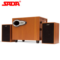 SADA D 200G High Quality 3D Surround Wood Subwoofer Stereo Heavy Bass PC Computer USB Wooden Speaker Speakers for Laptop Phone