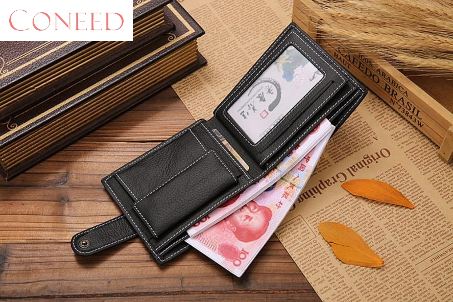 CONEED Charming Nice Best Gift Wholesale Men Leather Card Cash Receipt Holder Organizer Bifold Wallet Purse Sep18 R30