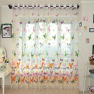 Image 3 - Mariposa colorida de tul estampado de pantallas de ventana Voile puerta cortinas cortina Panel o bufanda de cortina
