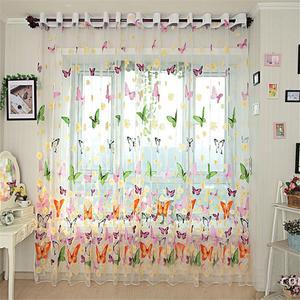 Image 3 - 다채로운 나비 인쇄 된 tulle 창 화면 깎아 지른 voile 문 커튼 드레이프 패널 또는 스카프 모듬 된 커튼
