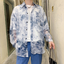 Spring New Shirt Men Fashion Printing Thin Section Casual Man Streetwear Trend Wild Hip Hop Loose Long-sleeved M-2XL