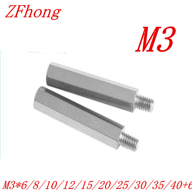 30PCS m3 male to female thread Stainless steel 304 hex spacer standoff  m3x6/8/10/12/15/20/25/30/35/40+6 stainless steel 20mm male thread pressure transmitter 0 0 2mpa dc 24v