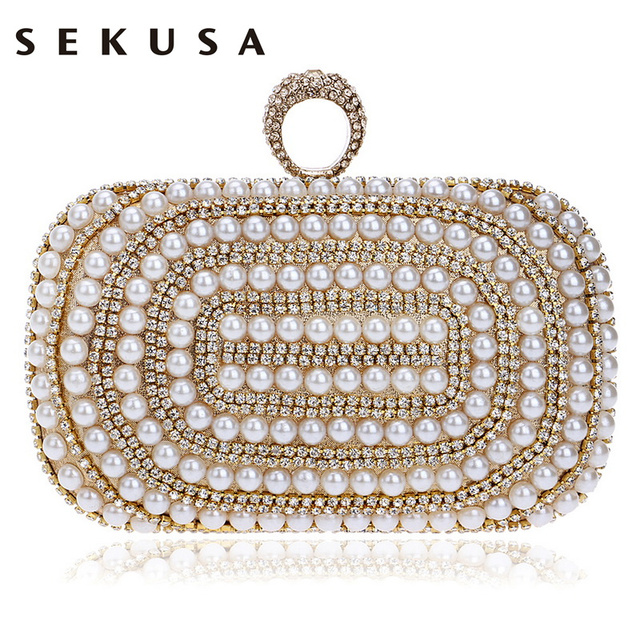 SEKUSA Beaded Women Evening Bags Diamonds Finger Rings Small Purse Day Clutches Handbags Silver/Gold/Black Pearl Wedding Bags